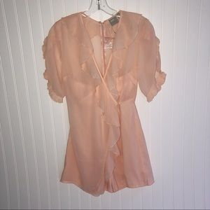 New Romper with Ruffled Sleeves Peach Size 2